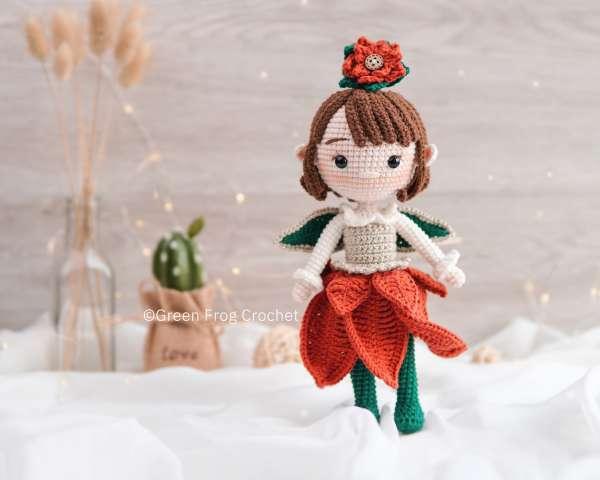 Poinsettia-elf-amigurumi-doll-pattern